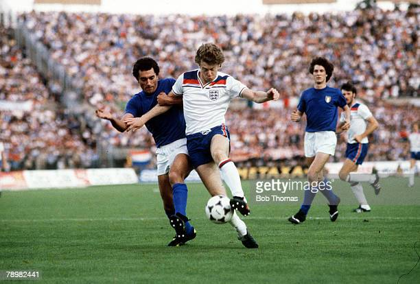Football European Championships Turin Italy 15th June 1980 Italy 1 v England 0 England's Tony Woodcock is held by Italian defender Claudio Gentile...