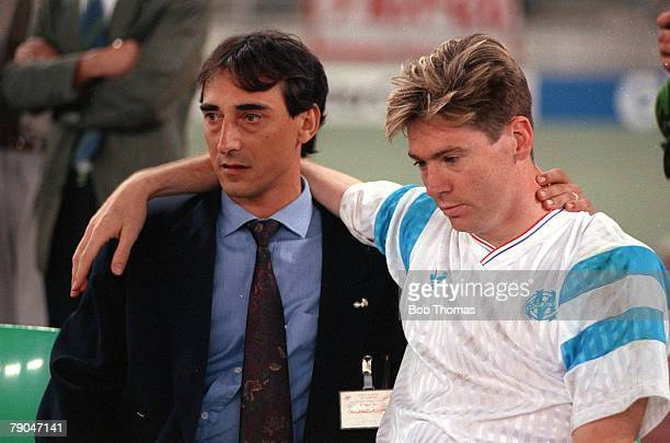 Football European Cup Final Bari Italy 29th May 1991 Marseille 0 v Red Star Belgrade 0 Marseille's Chris Waddle is consoled after the defeat