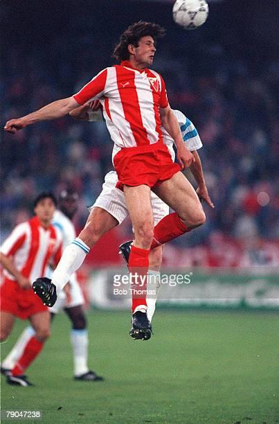 Football European Cup Final Bari Italy 29th May 1991 Marseille 0 v Red Star Belgrade 0 Red Star Belgrade's Sinisa Mihajlovic wins a header