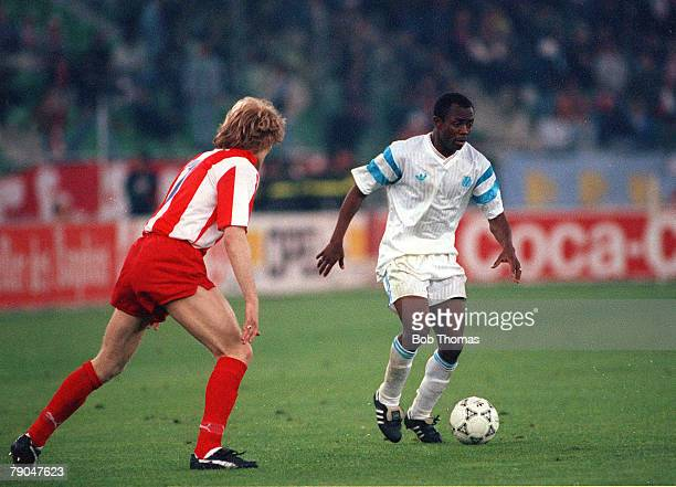 Football, European Cup Final, Bari, Italy, 29th May 1991, Marseille 0 v Red Star Belgrade 0 , Marseille's Abedi Pele is watched by Red Star...