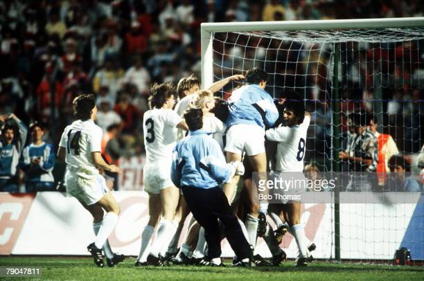 Football European Cup Final Stuttgart West Germany 25th May 1988 Benfica 0 v PSV Eindhoven 0 PSV players leap onto goalkeeper Hans Van Breukelen...