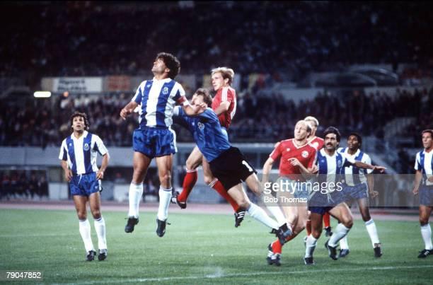 Football European Cup Final Vienna Austria 27th May 1987 Porto 2 v Bayern Munich 1 Porto captain Joao Pinto and goalkeeper Jozef Mlynarczyk attempt...