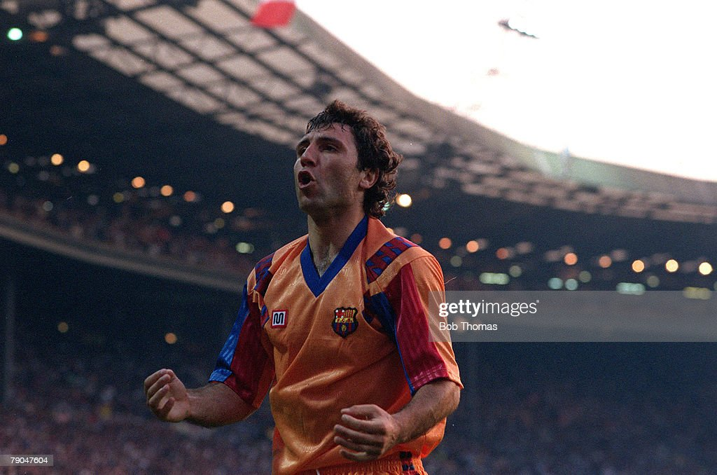 Football. European Cup Final. Wembley, London, England. 20th May 1992. Barcelona 1 v Sampdoria 0 (after extra time). Barcelona's Hristo Stoichkov celebrates. : News Photo