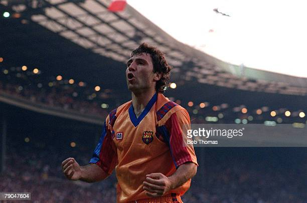 Football European Cup Final Wembley London England 20th May 1992 Barcelona 1 v Sampdoria 0 Barcelona's Hristo Stoichkov celebrates
