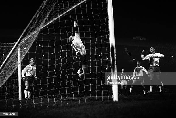 Football European Cup Quarter Final 28th February 1968 Manchester United 2 v Gornik Zagreb 0 Kostka the goalkeeper of the Polish team makes a flying...