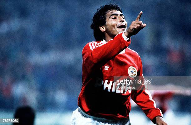 Football European Cup Second Round Second Leg PSV Eindhoven 5 v Steau Bucharest 1 PSV Eindhoven's Brazilian star Romario celebrates one of his two...