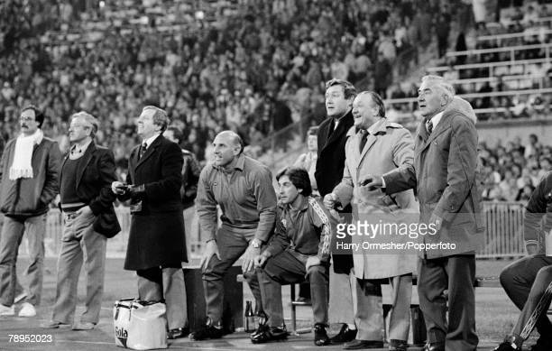Football European Cup Semi Final 2nd Leg at the Olympic Stadium in Munich 22nd April Liverpool 0 v Bayern Munich 0 Members of the Liverpool bench...
