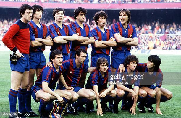 Football European Cup Winners Cup Final Nou Camp Spain 12th May 1982 Barcelona 2 v Standard Liege 1 The Barcelona team pose together for a group...