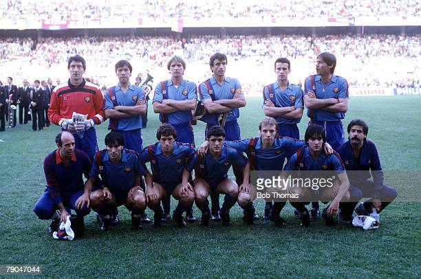 Football European Cup Winners Cup Final Seville Spain 7th May 1986 Barcelona 0 v Steaua Bucharest 0 The Barcelona team pose together for a group...