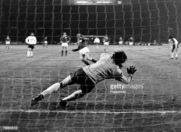 Football European Nations Cup Quarter Final Wembley 30th April 1972 England 1 v West Germany 3 Gunter Netzer of West Germany sees his penalty beat...