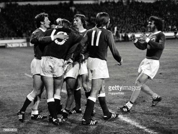 Football European Nations Cup Quarter Final Wembley 30th April 1972 England 1 v West Germany 3 Gunter Netzer of West Germany hugged by his teammates...