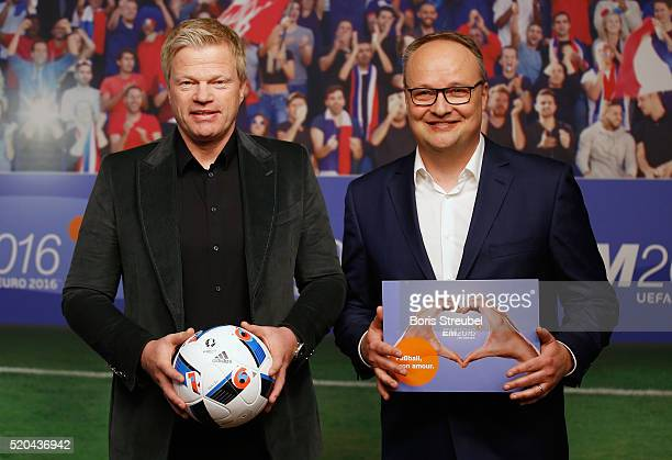 ZDF football expert Oliver Kahn and ZDF moderator Oliver Welke pose during a photocall prior to the ZDF UEFA Euro 2016 press conference at...