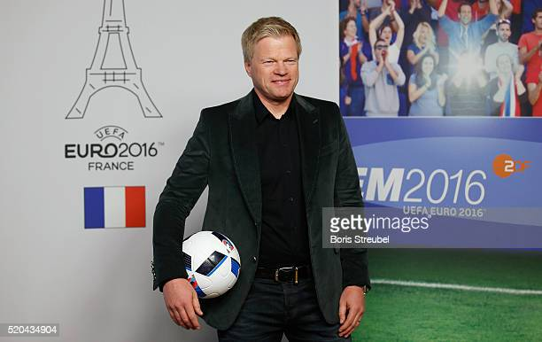 ZDF football expert Oliver Kahn pose during a photocall prior to the ZDF UEFA Euro 2016 press conference at Radialsystem on April 11 2016 in Berlin...