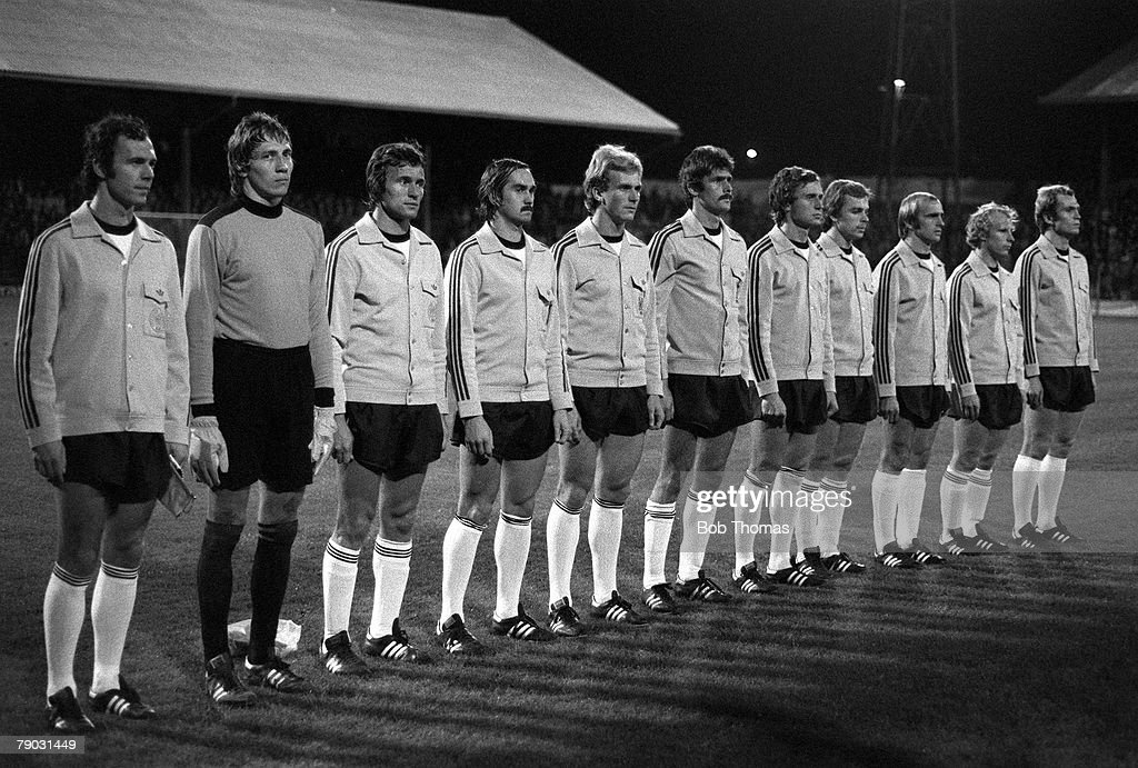 Football. FA Centenary International. Cardiff. 6th October 1976. Wales v Germany. World Champions West Germany captained by Franz Beckenbauer line up before the match. : News Photo