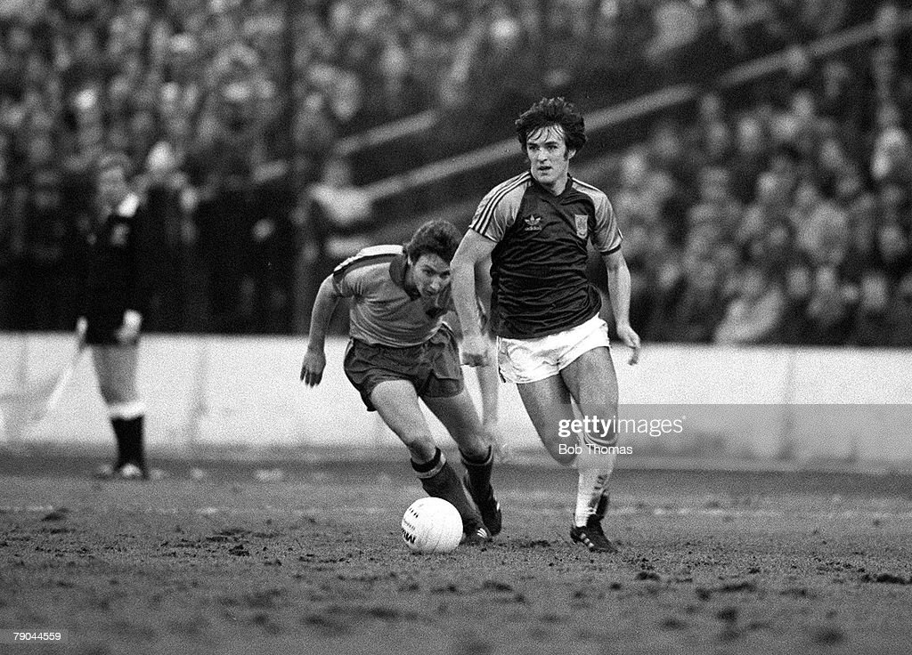 Football. FA Cup 4th Round. Watford, England. 23rd January 1982. Watford 2 v West Ham United 0. West Ham's Francois Van Der Elst moves away from Watford defender Keith Pritchett. : News Photo
