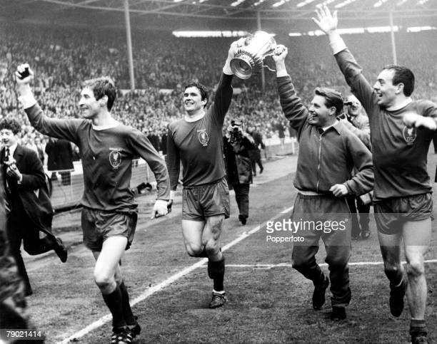 Football FA Cup Final 1st May 1965 Wembley Stadium Liverpool 2 v Leeds United 1 Liverpool players with the FA Cup Geoff Strong captain Ron Yates...