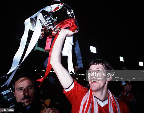 Football FA Cup Final Replay Wembley Stadium London 26th May 1983 Manchester United 4 v Brighton 0 Manchester United's Arnold Muhren celebrates with...