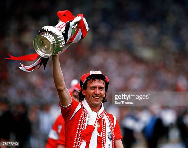 Football FA Cup Final Wembley Stadium London 18th May 1985 Manchester United 1 v Everton 0 Manchester United defender John Gidman celebrates with the...