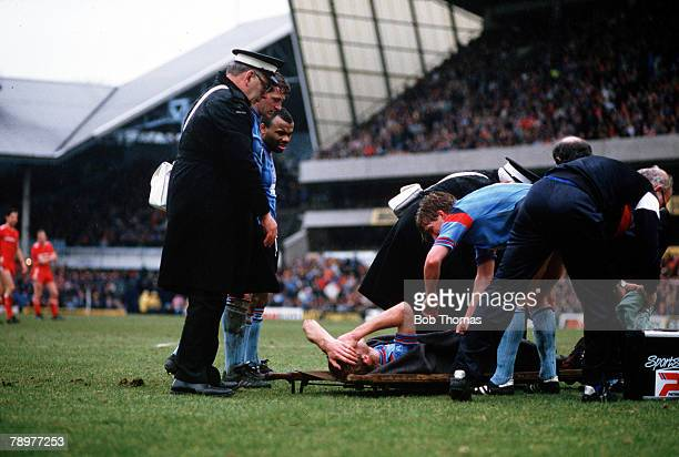 Football FA Cup SemiFinal 5th April 1986 White Hart Lane Tottenham Liverpool 2 v Southampton 0 Southampton's defender Mark Wright about to be carried...