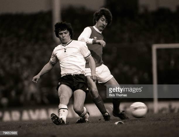 Football FA Cup Third Round London England 2nd January 1982 Tottenham Hotspur 1 v Arsenal 0 Spurs' captain Steve Perryman tackles Arsenal's Alan...