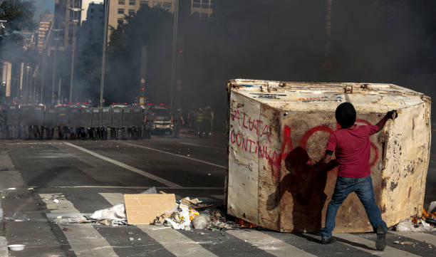 BRA: Organized Soccer Fans Protest Against President Bolsonaro and the Military Police Amidst the Coronavirus (COVID - 19) Pandemic