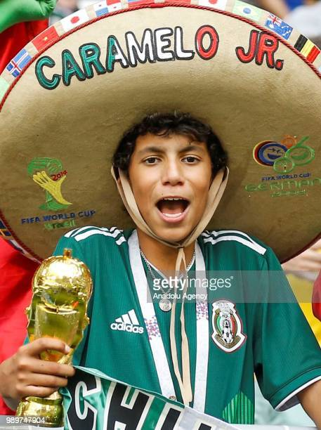 A football fan is seen ahead of 2018 FIFA World Cup Russia Round of 16 match between Brazil and Mexico at the Samara Arena in Samara Russia on July...