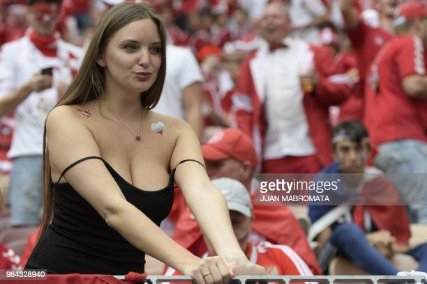 A football fan looks on before the Russia 2018 World Cup Group C football match between Denmark and France at the Luzhniki Stadium in Moscow on June...