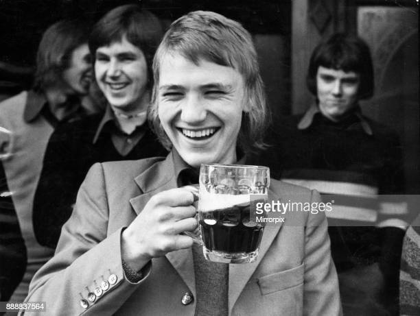 Football fan Paul Morgan enjoys a pint of beer before going to watch his team Wolverhampton Wanderers in action against Manchester City at Maine Road...