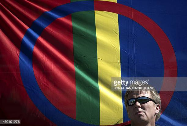 A football fan supports the Sapmi team during the CONIFA World Football Cup 2014 match Abkhazia vs Sapmi on June 2 2014 in Oestersund Sweden 12 teams...