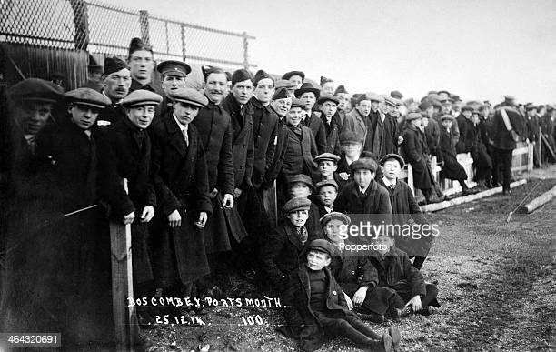 Football fans attending the Bournemouth Boscombe v Portsmouth FC match on Christmas Day during World War One 25th December 1914
