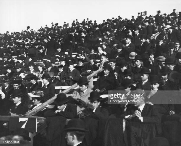 Football fans attending the HarvardYale game at Harvard Stadium in Allston Boston Massachusetts 1905