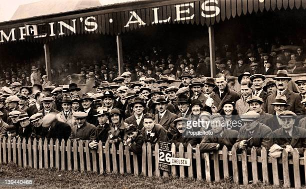 Football fans attending the match between Brighton and Hove Albion and Chelsea in Brighton circa 1920
