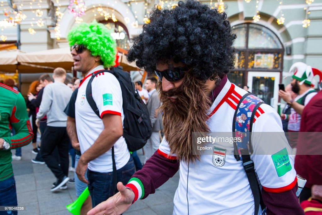 Football fans cheer at Moscow downtown on June 14, 2018 in Moscow, Russia.