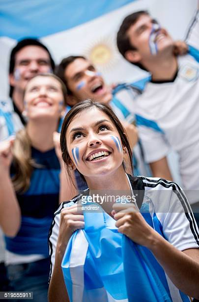 Football fans cheering for Argentina