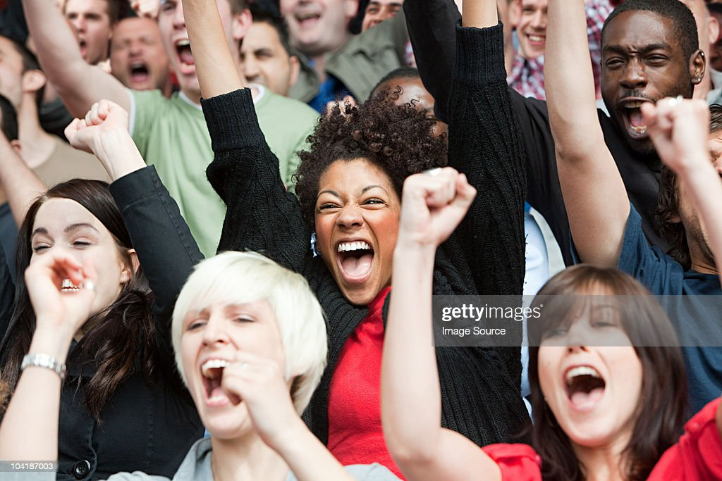 Football fans cheering : Stock Photo