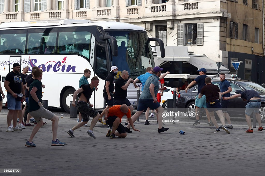 Football fans clash in Marseille ahead of the opening game of the UEFA Euro 2016 tournament later today, on June 10, 2016 in Marseille, France. Football fans from around Europe have descended on France for the UEFA Euro 2016 football tournament.