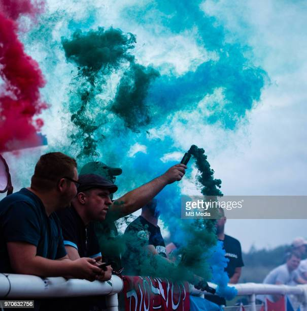 Football fans during the warm up before CONIFA World Football Cup 2018 Final match between Northern Cyprus and Karpatalya at Queen Elizabeth II...