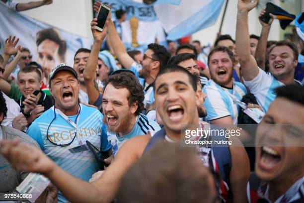 Football fans from Argentina sing songs and enjoy the party atmosphere of The World Cup in Nikolskaya Street near Red Square on June 15 2018 in...