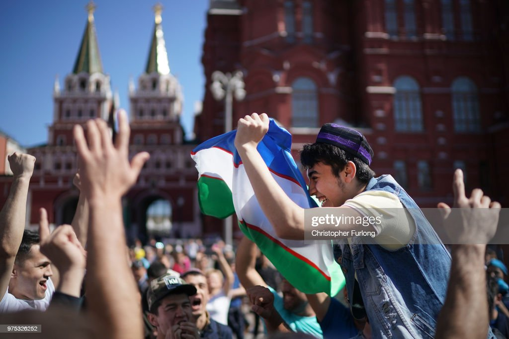 Football fans from Uzbekistan join in the party atmosphere of The World Cup near Red Square on June 15, 2018 in Moscow, Russia. Russia won the opening game of the tournament against Saudi Arabia 5-0.
