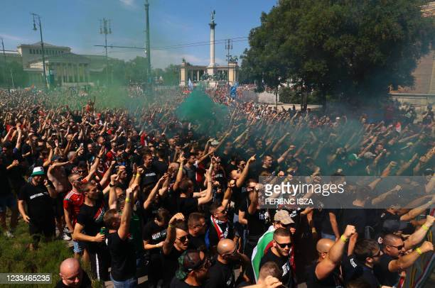 """Football fans gather at the """"Heroes' Square"""" in Budapest, Hungary on June 15 prior the UEFA EURO 2020 Group F football match Hungary against Portugal."""