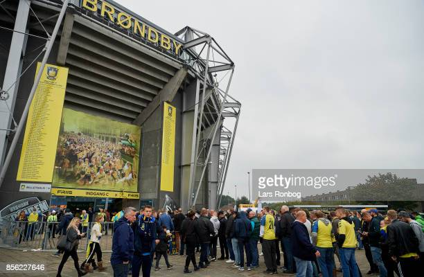 Football fans in front of the stadium prior to the Danish Alka Superliga match between Brondby IF and Sonderjyske at Brondby Stadion on October 1...