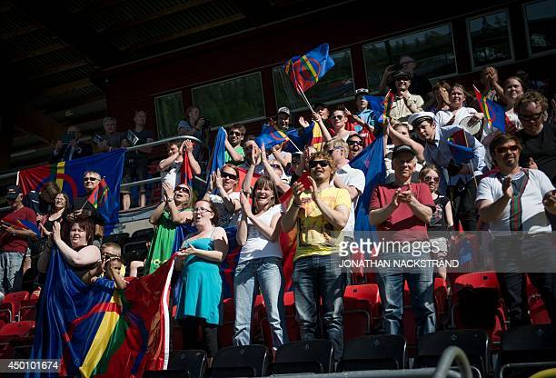 Football fans support the Sapmi team during the CONIFA World Football Cup 2014 match Abkhazia vs Sapmi on June 2 2014 in Oestersund Sweden 12 teams...