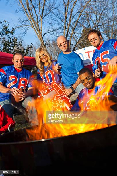 Football fans tailgating