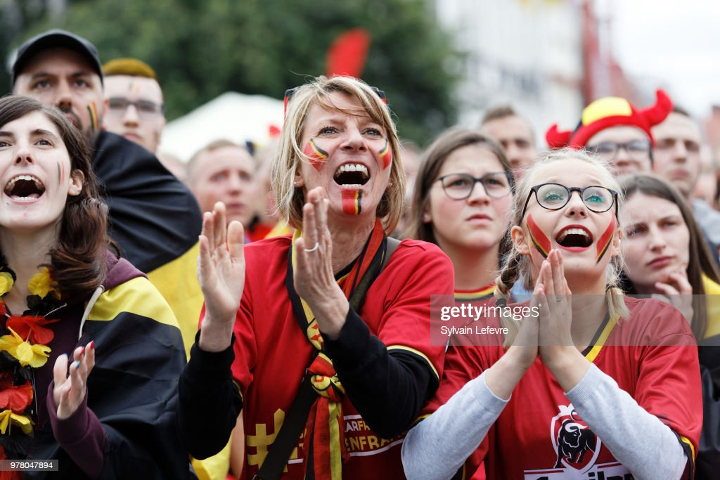 Ambiance For The Belgium v Panama: Group G - 2018 FIFA World Cup Russia At Tournai