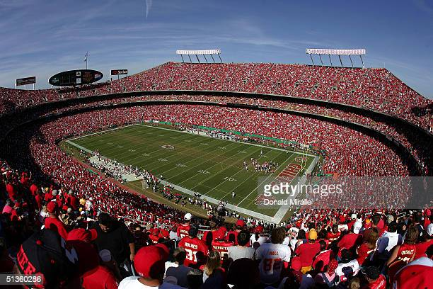 Football fans watch the 2nd half of Kansas City Chiefs versus the Houston Texans NFL game on September 26 2004 at Arrowhead Stadium in Kansas City...