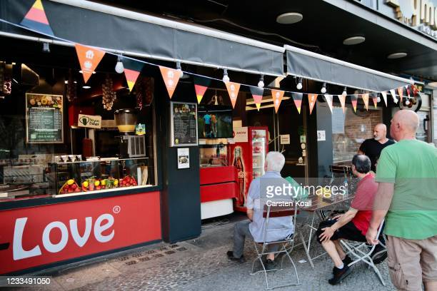 Football fans watch the EURO 2020 match between Turkey v Wales in the streets of Neukoelln district on June 16, 2021 in Berlin, Germany.