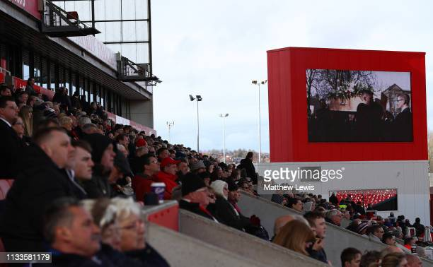 Football fans watch the funeral service of Gordon Banks at the bet365 Stadiumon March 04 2019 in Stoke England Gordon Banks considered one of the...