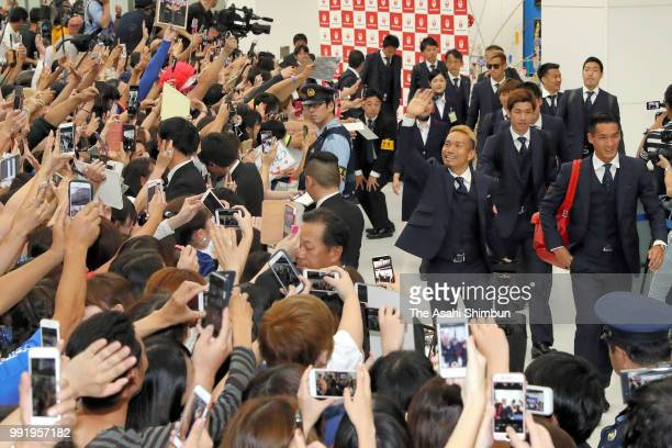 Football fans welcome Japan national team arriving at Narita International Airport after the FIFA World Cup on July 5 2018 in Narita Chiba Japan
