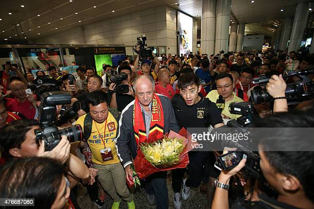 Football fans welcome Luiz Felipe Scolari new coach of Guangzhou Evergrande on his arrival at Baiyun International Airport on June 11 2015 in...
