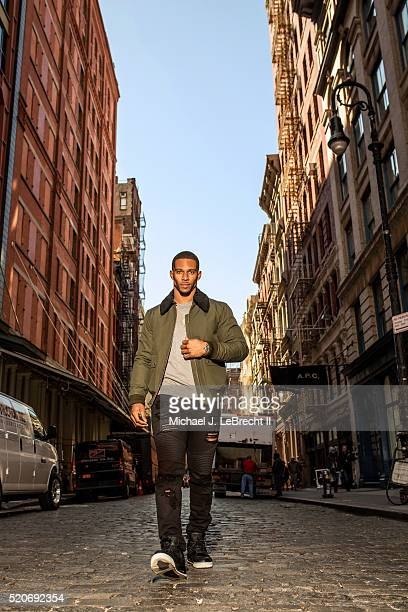 Fashionable 50: Portrait of New York Giants wide receiver Victor Cruz posing during photo shoot on Mercer Street in the SoHo neighborhood. Cover. New...